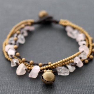 Rose Quartz Brass Chain Bracelets Layer Romantic Pink Femminine