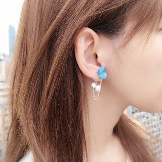 *Haku‧Neko*blue hydrangea flowers really connected after the chain Cotton Pearl Earrings Ear (true three-dimensional flower)