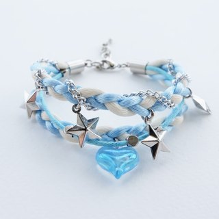 Blue white triple layers braided bracelet with heart and star charms