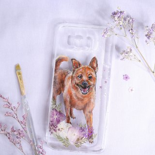 Tailor-made Hand-drawn Pet Pressed Flower Phone Case | Mixed Breed Dog