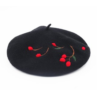 Ke people original handmade wool felt cherry bass hat female spring and autumn wild students pastoral art painter hat