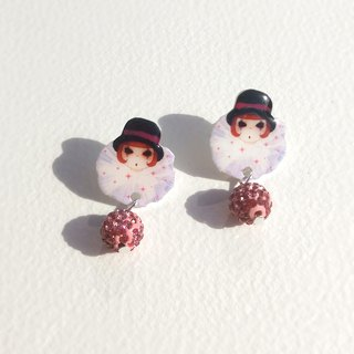Small Q version cartoon red hair clown cute illustration character pink diamond/pin clip earrings