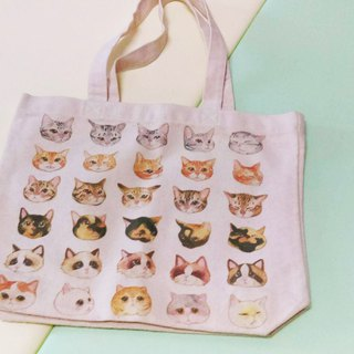 A4 cat face double-sided canvas bag (small amount of no brush)