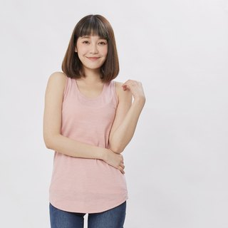 Slub yarn fabric summer tank /Pink