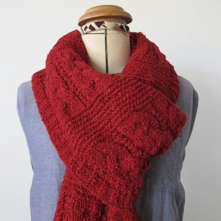 Blue wool scarf (red)