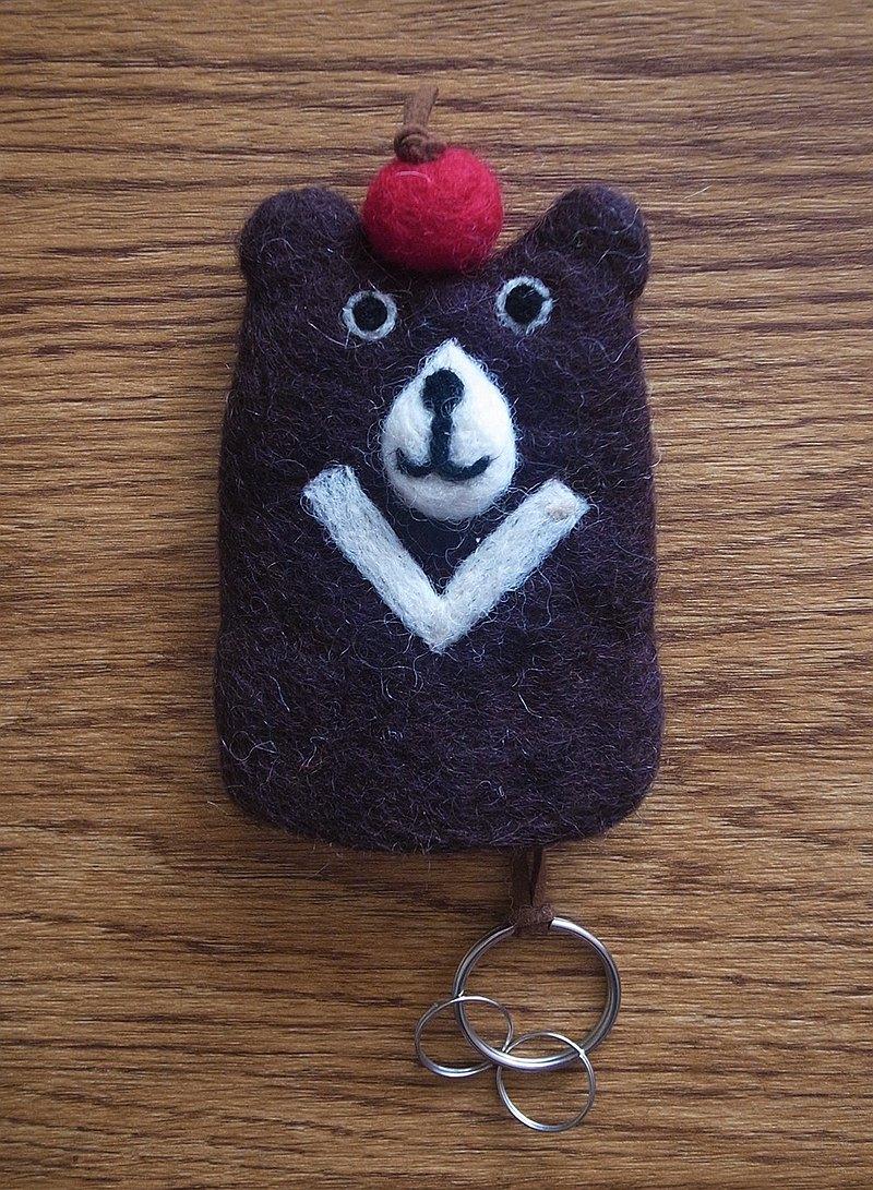 羊毛氈 手工製作 鑰匙套 鑰匙包 動物 台灣黑熊