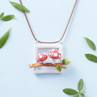 Fairytale red mushroom - handmade white porcelain necklace