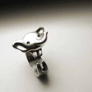 Cute baby elephant silver ring