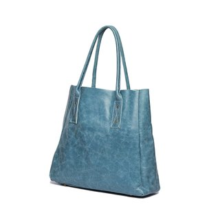 Small Eyes Leather Bag / Little Double Tote / Handmade Sheepskin / Lake Blue / Limited Edition