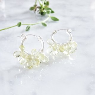 SV925 SF Lemon Quartz*wrapped hoop pierced earring / earring