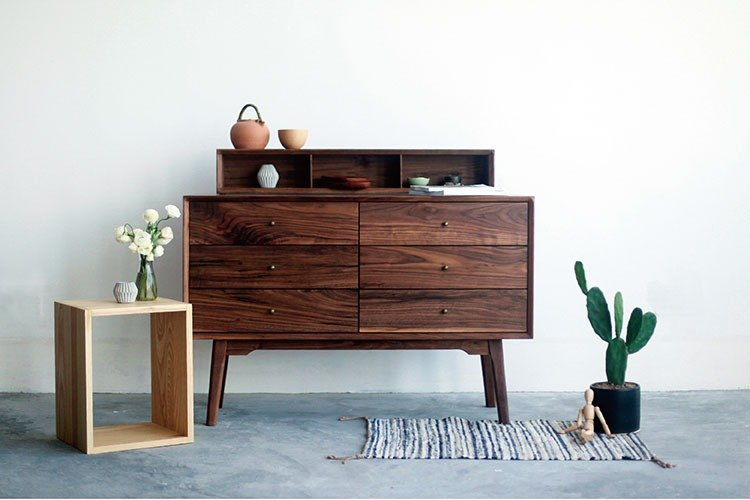 Lushan Workshop - Walnut / Cherry Wood - Solid Wood Dining Table Side Cabinet - Storage Cabinet - Six Chest of Drawers