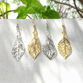 Handmade No. 3 Leaf Dangled Earrings (Clip-on Available)