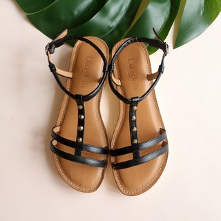[City context] double thin flat sandals - black