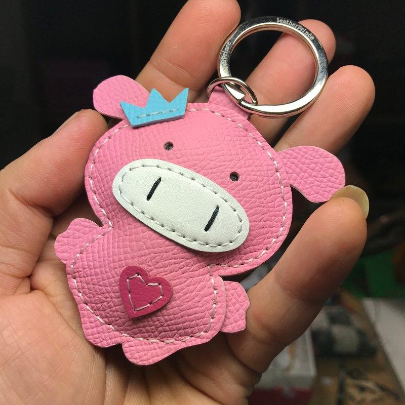 療癒小物 粉色 可愛 小豬 純手工縫製 皮革 鑰匙圈 小尺寸