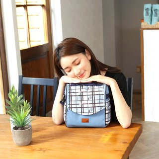 Arc bag cover dual-use square bag (checkered block) sky blue