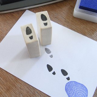 Handmade rubber stamp Footsteps of  leather shoes