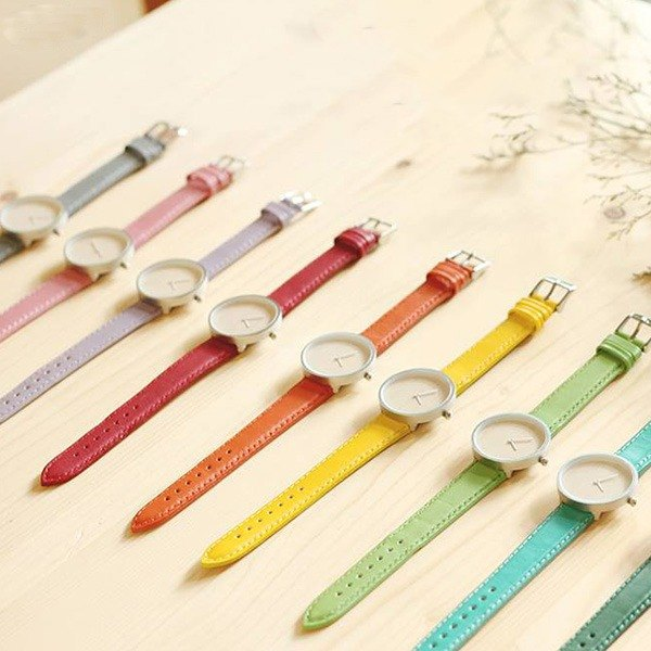 Voucher wood handmade watch Color metal bezel / white wax / leather strap