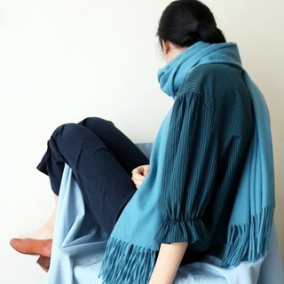 Peacock Blue and Green Wool Scarf (Blue Series Selection)