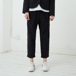 Dot jacquard trousers Hem pants