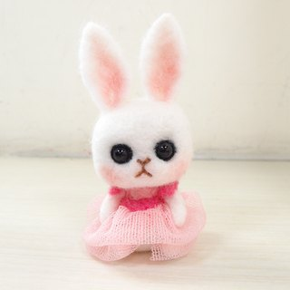 A rabbit in a Tutu-Wool felt  (key ring or Decoration)
