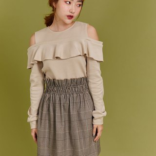 Irene ruffle knit top (Beige)