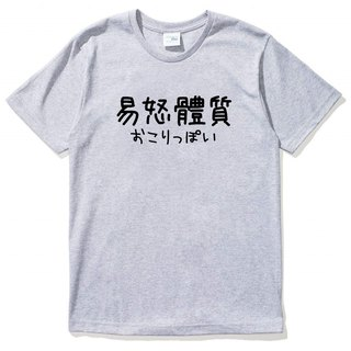 Japanese irritability constitution # 2 short-sleeved T-shirt gray Chinese characters Japanese English Wenqing Chinese style