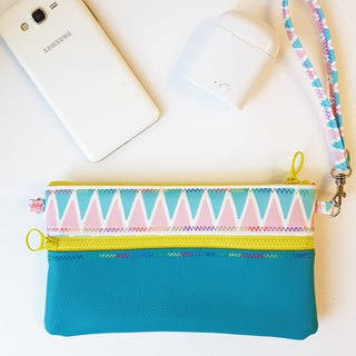 Internal and external waterproof / cosmetic bag / mobile phone bag / passport / ticket card / long clip - peacock blue - printing ring