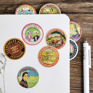 Retro collection series hand account sticker round label stickers 45 sheets