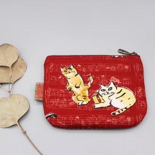 Peaceful little bag - Christmas cat and gift (two cats), double-sided two-color Japanese cotton and linen purse