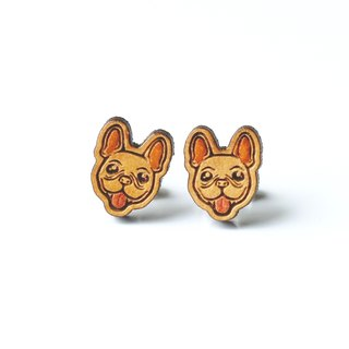 Painted wood earrings-French Bulldog