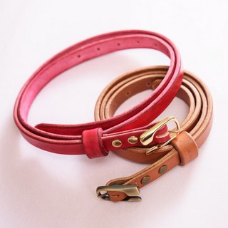 Leather handmade female models - Italy vegetable tanned saddle belt - brown brown / plus a belt loop