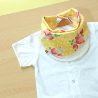 Baby Infinity Bib, Reversible Bandana Scarf,Yellow Strawberry,Japanese Fabric