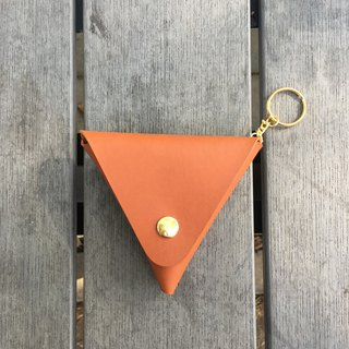 Handmade / classic vegetable tanned triangle coin purse / caramel color