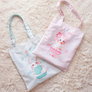 Rabbit eat macaron pink / blue, shoulder back 2way bag