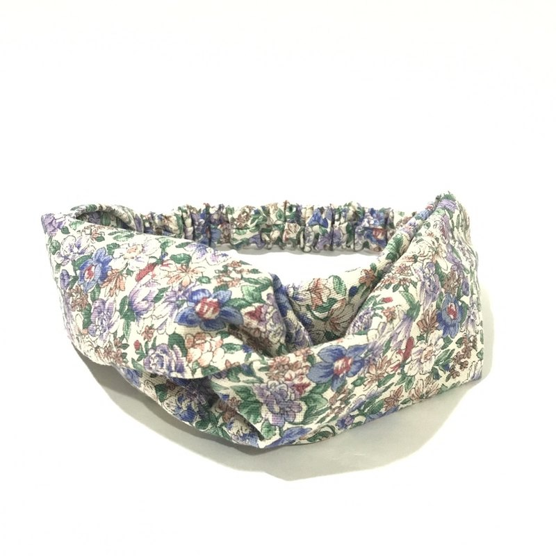 White purple flowers / hand-elastic hair band