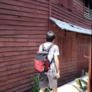 Backpack (Black-Dark Red).
