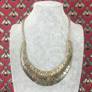 Exaggerated half moon metal carved antique necklace BKA113