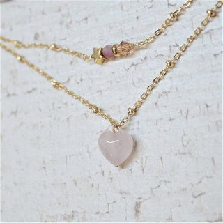<< Love wishing star - natural stone double necklace >> love powder crystal ore powder tourmaline