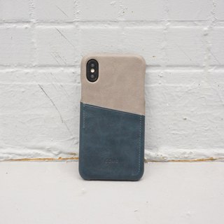 iPhone X Dual Color Leather Phone Case - Gray / Navy / Card Holder /