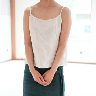 Summer | Simple cotton and linen sling vest tops simple and simple rainy white color