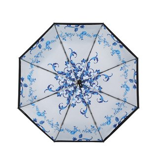 [German kobold] Anti-UV zero-light intelligent sunscreen - Blue and white porcelain series - Double shade sunscreen cooling umbrella - Three fold umbrella - Roll grass