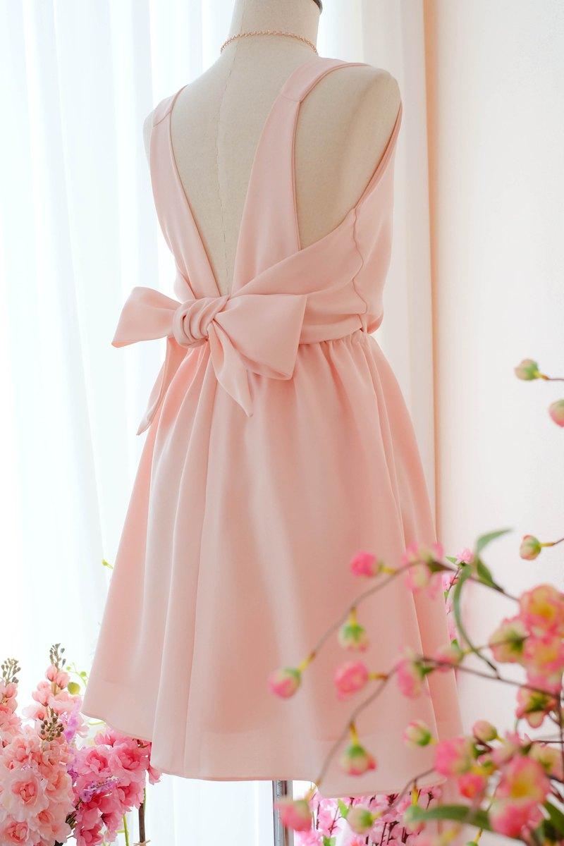 粉色腮紅連衣裙伴娘禮服露背派對雞尾酒短禮服