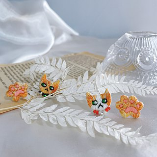 Handmade embroidery// Fatty orange cat lady's cat's paw embroidered earrings// can be clipped