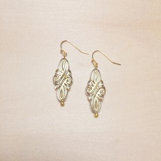 Vintage European transparent engraving earrings