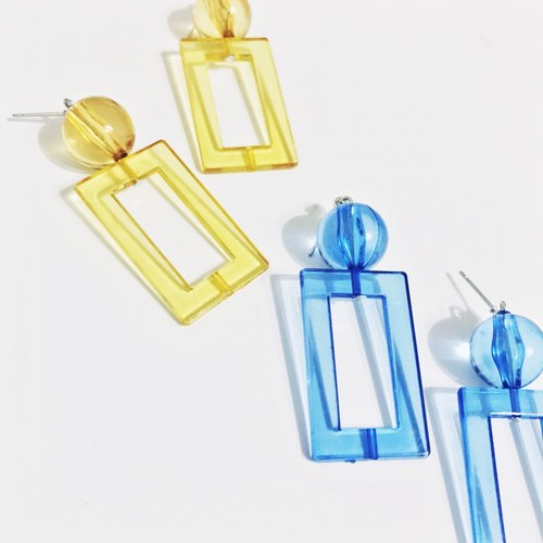Marygo blue and yellow transparent cubic earrings