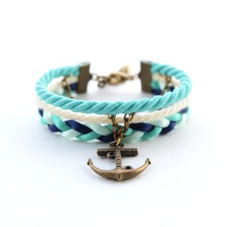 Anchor nautical layered bracelet in matte fresh mint / cream / light mint / navy