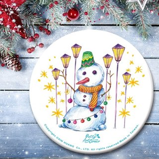 Painted Absorbent Ceramic Coasters – Christmas snowman