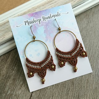 Misssheep A22 - macrame earrings with brass beads