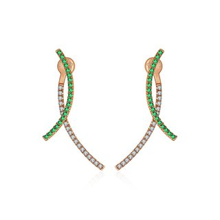 Double Curve Diamond Earring With Emerald