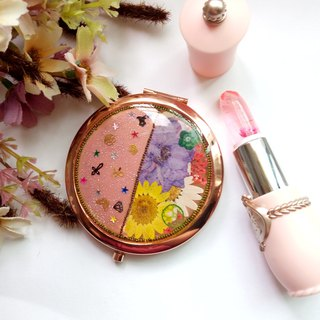 Pressed flowers mirror, Handmade mirror, Pressed Flower Compact Mirror
